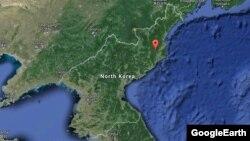 Солтүстік Корея 2013 жылы ядролық сынақ жасаған жер қызылмен белгіленген карта.