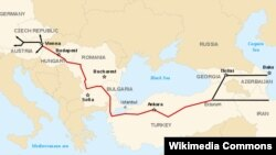 The projected path of the Nabucco pipeline, between the Caspian Sea and Western Europe.