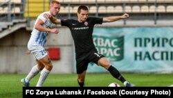 Юхим Конопля (л) та Богдан Михайличенко (п) під час матчу «Десни» та «Зорі», 19 липня 2020 року