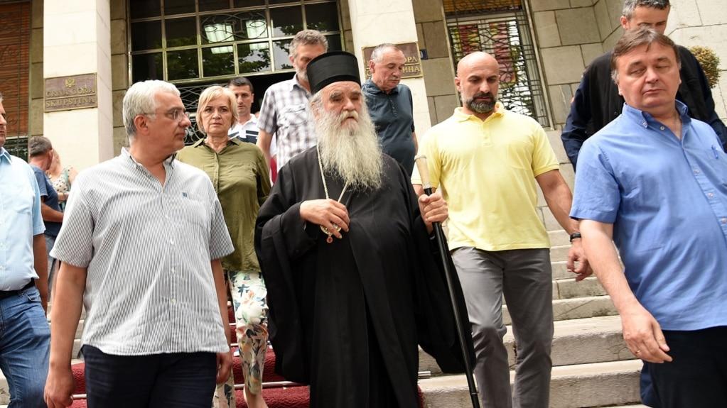 Amfilohije Radović sa pripadnicima Demokratskog fronta u Podgorici, 2. jula 2017.
