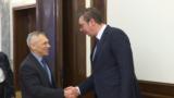 Serbian President Aleksandar Vucic (right) met with Russian Ambassador to Belgrade Aleksandr Bocan Harchenko before the security meeting on November 21.