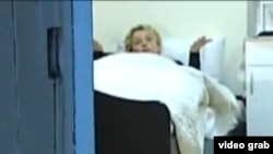 A screengrab of former Ukrainian Prime Minister Yulia Tymoshenko filmed in her prison cell