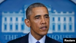 АҚШ президенті Барак Обама Ирактағы жағдайға қатысты мәлімдеме жасап тұр. Вашингтон, 19 маусым 2014 жыл.