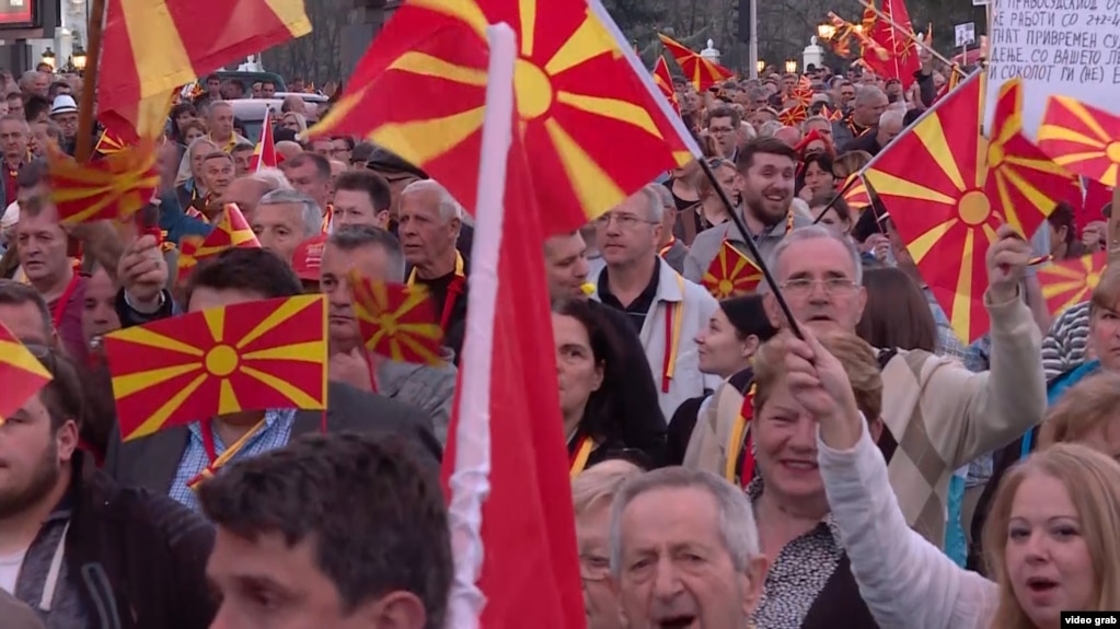 Macedonians at yet another protest in March.