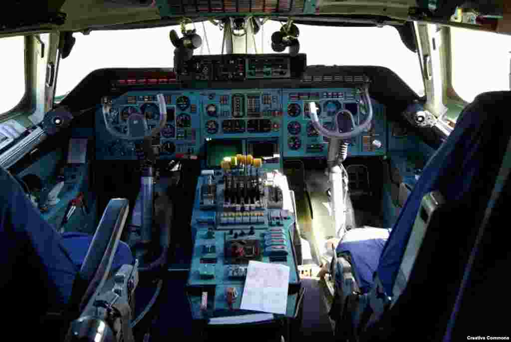 A file photo of the cockpit of the An-225, which flies with a crew of six