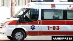 Armenia -- An ambulance vehicle in Yerevan.