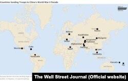 Країни, які надсилають до Пекіна на парад контингенти чисельністю більше 75 вояків позначені квадратом, а нечисельні підрозділи – колом. Джерело: The Wall Street Journal