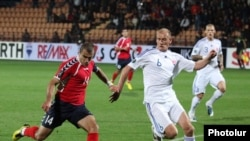 Armenia -- Armenia's national football team plays against Slovakia in a Euro 2012 qualifier, Yerevan, 8Oct2010.