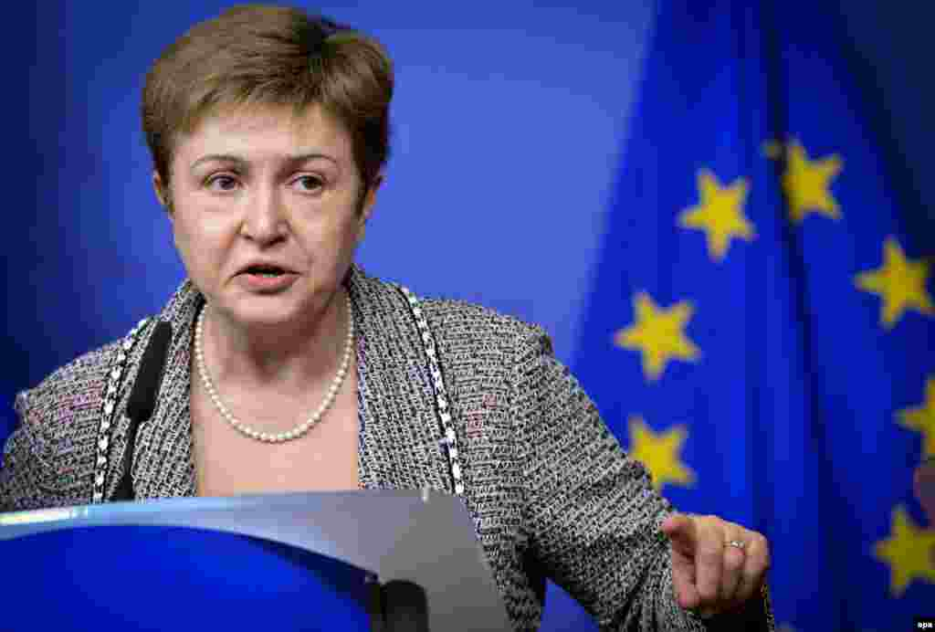 Kristalina Georgieva, Bulgaria, vice-president in charge of EU budget: Considered the people's favorite to succeed Catherine Ashton as the EU's top diplomat, Georgieva gained a reputation as a competent humanitarian aid commissioner and World Bank official. She will now be in charge of how much EU money is being spent, and where.