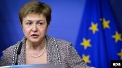 Kristalina Gheorghieva la o conferință de presă la Bruxelles