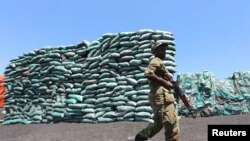 FILE PHOTO: A Somalian soldier walks past a consignment of charcoal destined for the export market in Barawe October 12, 2014. REUTERS/Feisal Omar (SOMALIA)/File Photo