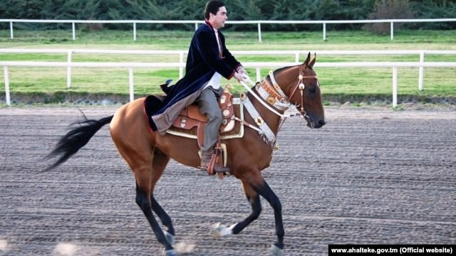 Turkmen President Gurbanguly Berdymukhammedov is closely associated with the country's Akhal-Teke horses.