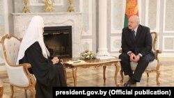 Аляксандар Лукашэнка сустрэўся зПатрыярхам Маскоўскім і Ўсяе Русі Кірылам. Менск, 15 кастрычніка 2018 году