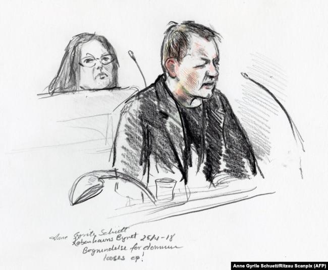 Петер Мадсен в зале суда