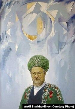 Россиянын баш муфтийи Талгат Тажуддиндин портрети.