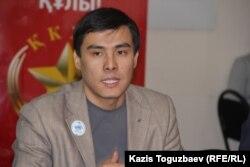«Ақ жол» партиясы орталық кеңесінің мүшесі Мақсат Жақауов. Алматы, 6 ақпан 2015 жыл.