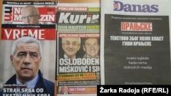 Listovi koji su se jutros na kioscima u Srbiji pojavili sa crnom naslovnicom ili uz slogan za odbranu slobode medija