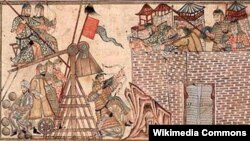 Monqol ordusu şəhəri mühasirəyə alıb. Qədim rəsm