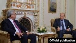 Russia - President Vladimir Putin meets with his Armenian counterpart Serzh Sarkisian, Novo-Ogaryovo, 7Sep2015.