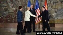 Pamje pas takimit në Beograd