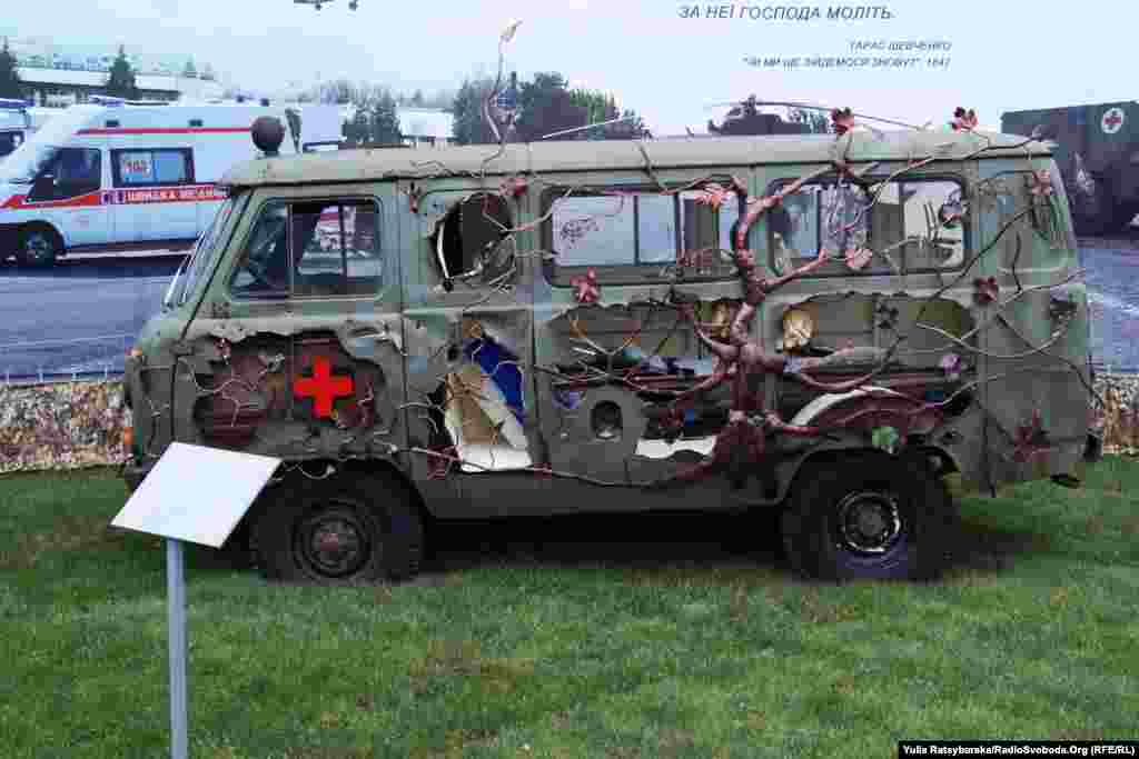A damaged ambulance that transported wounded fighters has been turned into an art installation.