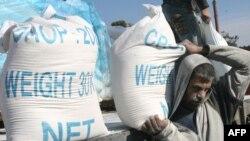 کمکهای سازمان ملل در یکی از اردوگاههای رفح در جنوب نوار غزه