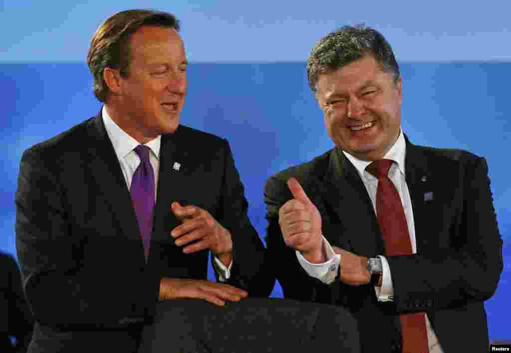 British Prime Minister David Cameron (left) shares a laugh with Ukrainian President Petro Poroshenko during the NATO summit in Wales on September 4. (Reuters/Yves Herman)