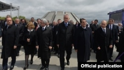 Armenia - The presidents of Armenia, Russia, France, Serbia and Cyprus at the Armenian Genocide Memorial complex in Yerevan, 24Apr2015.