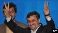 Iranian President Mahmud Ahmadinejad gestures during a press conference as part of the Bali Democracy Forum.