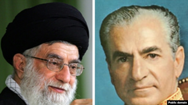 Iran's Supreme Leader Ayatollah Ali Khamenei (left) and Mohammad Reza Pahlavi, the deposed shah