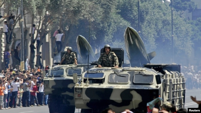 Military vehicles take part in a huge parade held in the Azerbaijani capital, Baku, at the weekend.