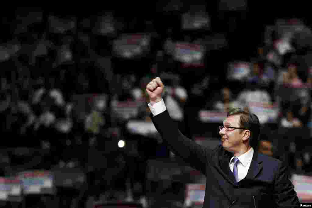 Serbian Prime Minister and leader of the Serbian Progressive Party (SNS) Aleksandar Vucic gestures during a rally ahead of the April 24 election in Belgrade on April 21. (Reuters/Marko Djurica)