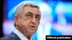 France - President Serzh Sarkisian speaks at the Council of Europe Parliamentary Assembly in Strasbourg, 24 January 2018.
