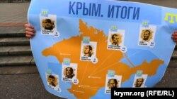 Плакат участника одиночного пикета против аннексии Крыма в Москве. 17 марта 2019 года