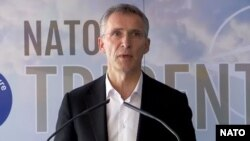 NATO Secretary-General Jens Stoltenberg attends a press conference at the end of NATO's Trident Juncture 2015 drill in Zaragoza, Spain, on November 4.