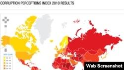 Harta e paraqitur nga Transparency International për vitin 2010