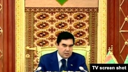 Turkmen President Gurbanguly Berdymukhammedov speaks to parliament in Ashgabat on January 20.