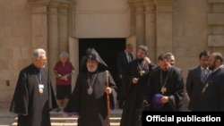 Catholicos Garegin II and other Armenian clerics outside an Armenian church in Baku