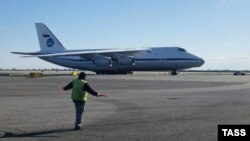 A Russian cargo plane carrying medical equipment lands at John F. Kennedy International Airport on April 1.