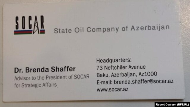 A business card identifying Brenda Shaffer as an adviser to SOCAR.