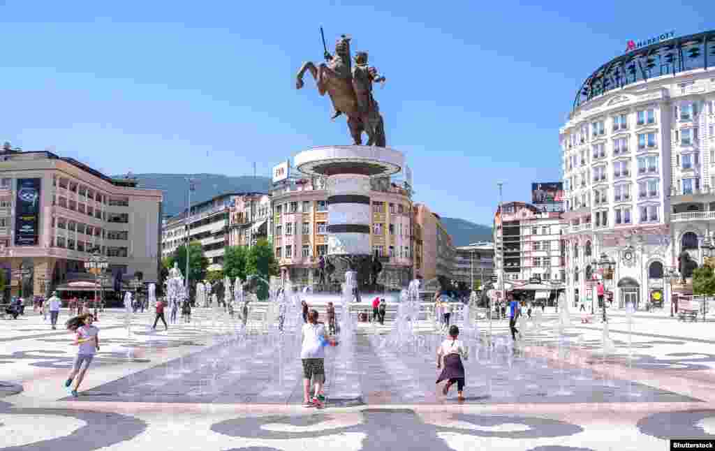 "A huge statue to Alexander The Great, also known as ""King Alexander III of Macedon,"" in Skopje, the capital of Macedonia. According to veteran UN mediator Matthew Nimetz, a resolution to the impasse between Skopje and Athens is within reach."