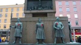 Центральная площадь Бергена во время информационной акции по случаю Всемирного дня борьбы со СПИД.