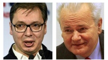 Predsjednik Srbije Aleksandar Vučić i bivši predsjednik Srbije i SR Jugoslavije i optuženik za ratne zločine Slobodan Milošević
