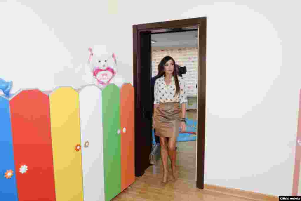 Aliyeva touring an empty kindergarten room in Baku on September 27.