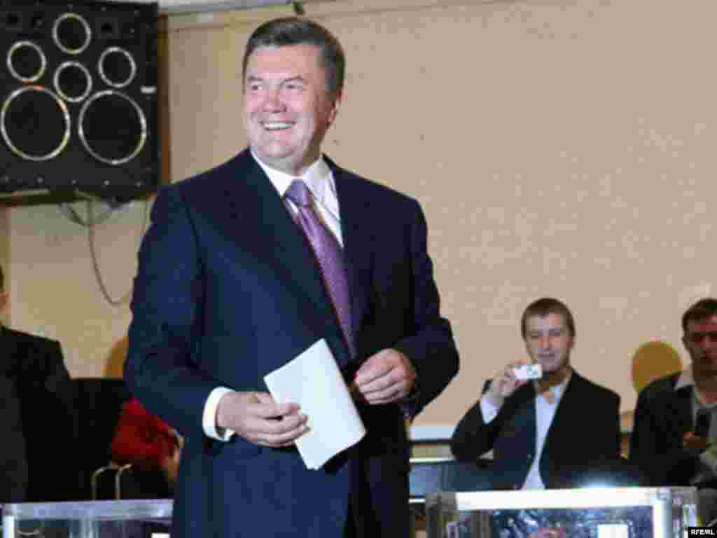 Prime Minister and Party of Regions Chairman Viktor Yanukovych at a polling place in Kyiv