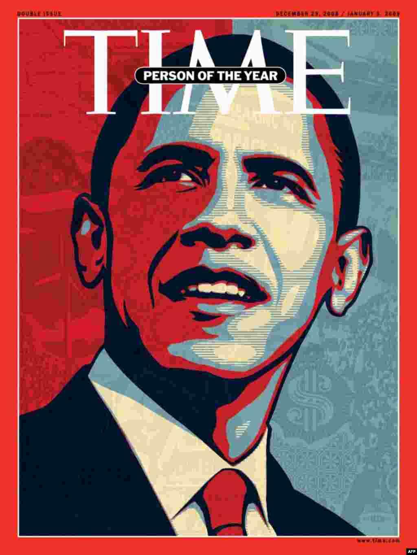 عکس روی جلد مجله تايم شماره ۱۸ دسامبر ۲۰۰۸، باراک اوباما «مرد سال» انتخابی اين مجله.