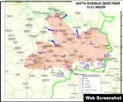 Мапа зони бойових дій, опублікована сепаратистами