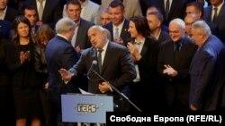 Лидерът на ГЕРБ Бойко Борисов говори пред новоизбраните 140 кмета от партията му на национално съвещание в София