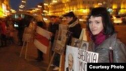 Nasta Palazhanka at a protest in May
