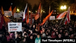 The size of the crowd at the opposition protest in Moscow was estimated to be between 5,000 and 10,000.
